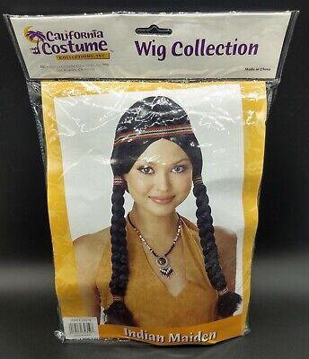 Indian Princess Maiden WIG Halloween Costume Black wig Adult California Costume