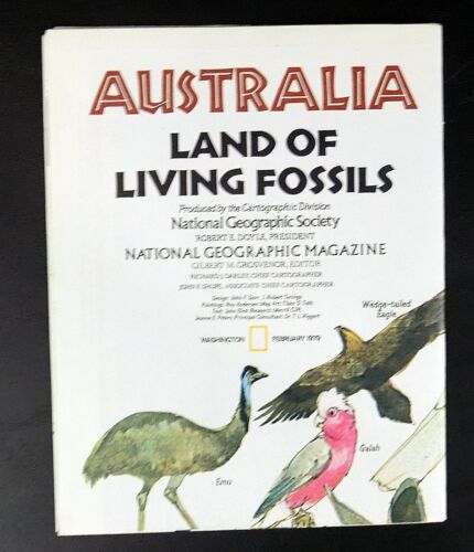 """AUSTRALIA - Land of Living Fossils MAP National Geographic 1979 approx 23"""" x 30"""""""