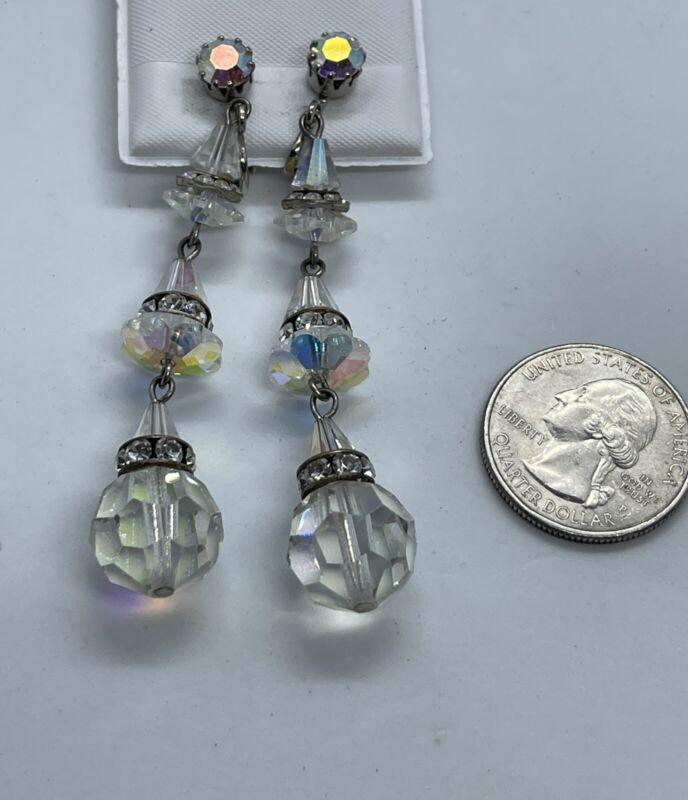 Vintage Art Deco Cut Glass AB Rhinestone Drop Clip Earrings. AS IS