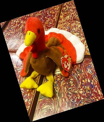 RARE GOBBLES TY ERRORS EXTRA TAG ELITE BEANIE BABY 1996 PVC TURKEY RETIRED COOL