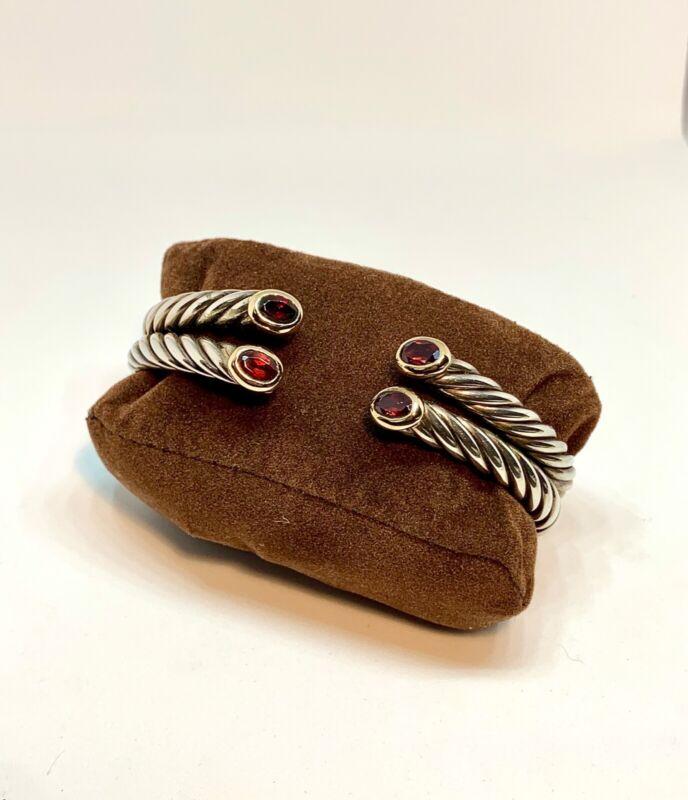 Designer Sterling Silver 14k Gold Garnet Bangle cuff Bracelet Italy Rare Vintage