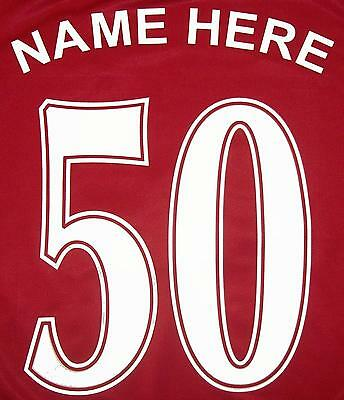 FOOTBALL NAME AND NUMBER, IRON ON / VINYL HEATPRESS TRANSFER CHOICE OF COLOURS