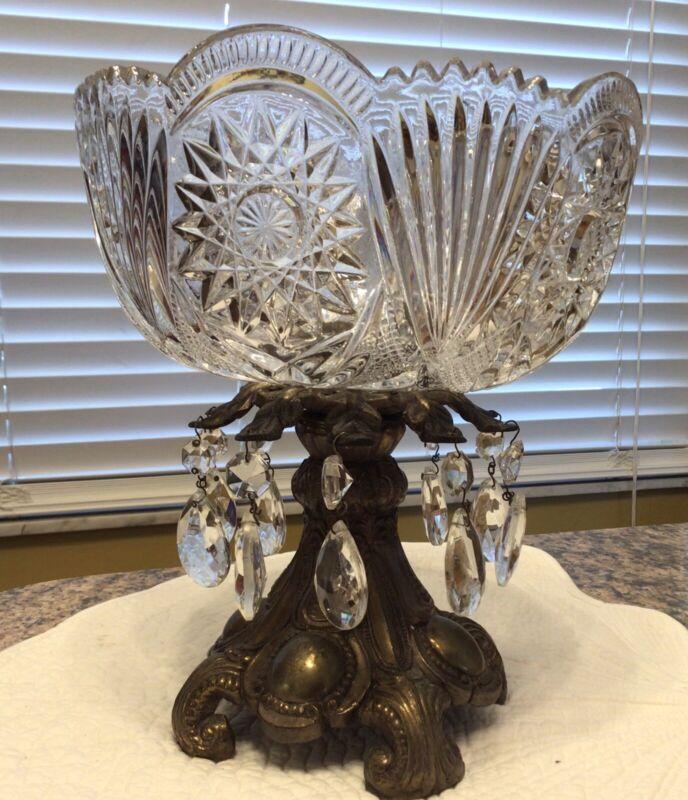Vintage Lead Crystal Cut Glass Bowl With Brass Pedestal & Prisms