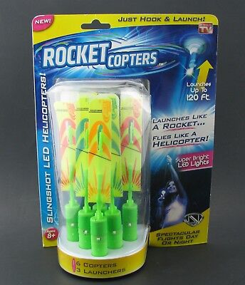 Rocket Copters Amazing Slingshot LED Helicopters As Seen on TV Launch up to 120'