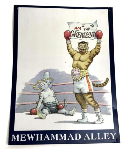 """Vtg 1996 Cat Hall Of Fame """"Mewhammad Alley"""" Anthropomorphic Boxing Cats Tin Sign"""