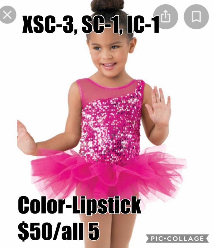 Group LOT of 5 Child 3-XSC, 1-SC, 1-IC, Weissman Ballet Dance Costume Dresses