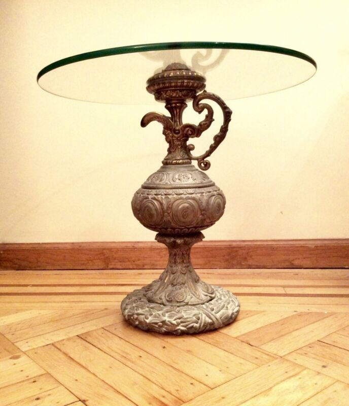 """Vintage Accent Side Table Bronze / Glass 20"""" Tall Patina Decanter Ornate Decor"""