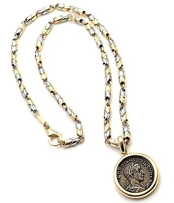 Authentic! Bvlgari Bulgari 18k Yellow & White Gold Ancient Coin Link Necklace