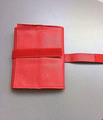 Brillenrolle Allzweckrolle  rot Kunstleder mit Klettverschluss