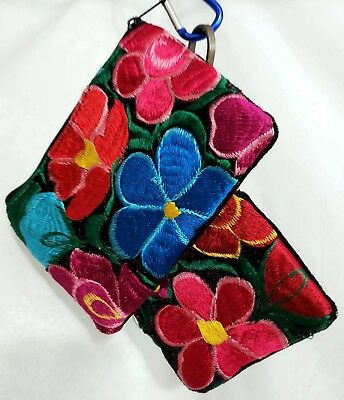 EMBROIDERED FLOWERS GUATEMALA PURSE COSMETIC MAKE UP LIPSTICK COIN POUCH SET Eco Friendly Lipstick