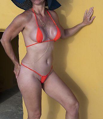 NEW* NEON ORANGE SHEER SEXY MINI MICRO THONG G-STRING BIKINI ONE SIZE USA SELLER