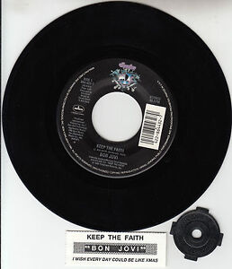 BON-JOVI-Keep-The-Faith-7-45-rpm-vinyl-record-juke-box-title-strip