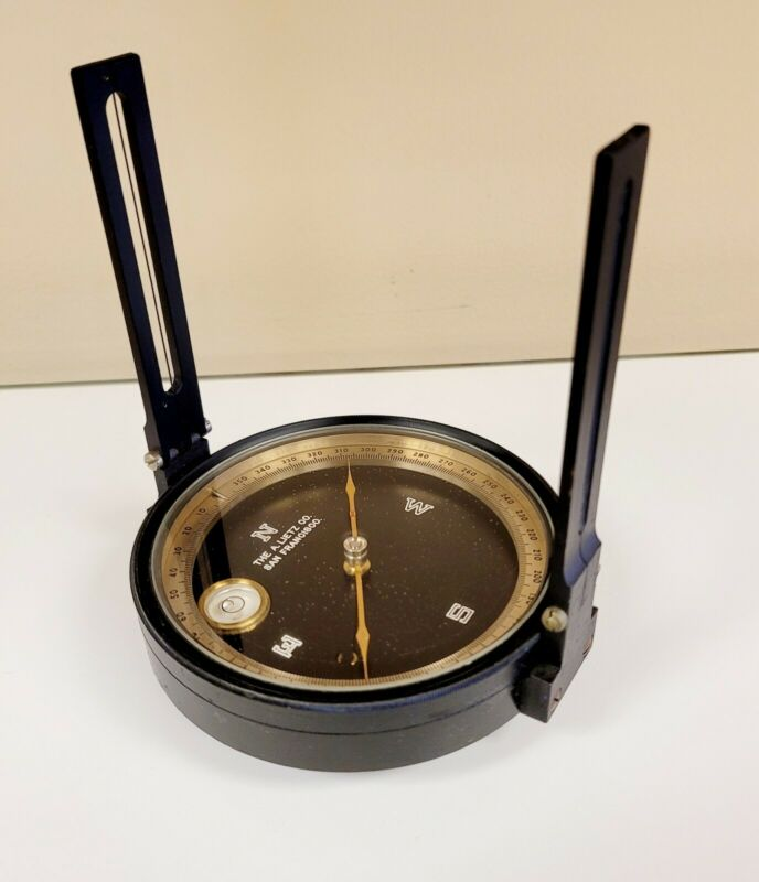"A. LIETZ CO.  4"" dia surveying compass w/ fold-down sights"