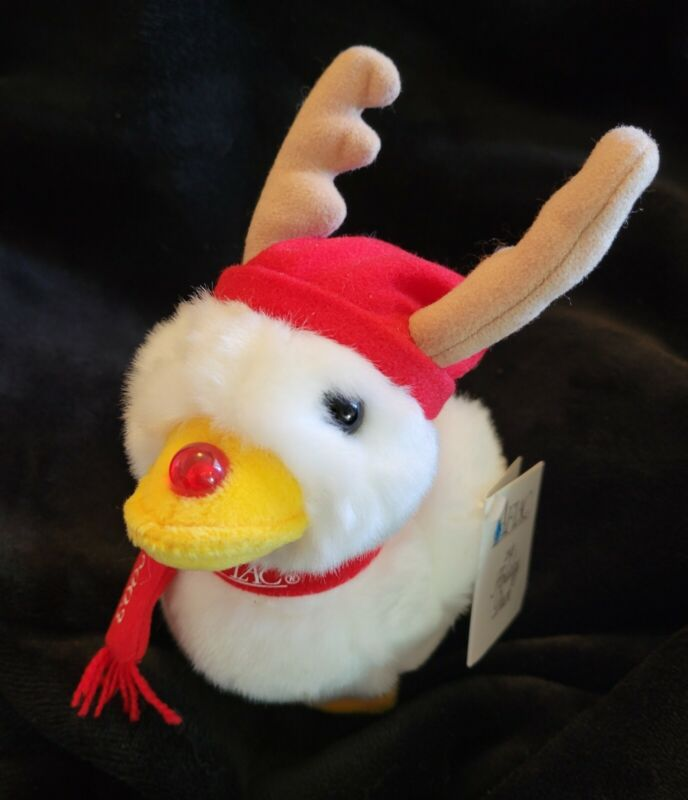 """2003 Aflac Duck Christmas Holiday 6"""" NWT. Works. Reindeer"""