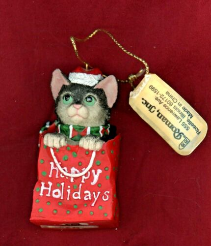HAPPY HOLIDAYS KITTEN IN A BAG CHRISTMAS ORNAMENT  Roman Inc. 1995