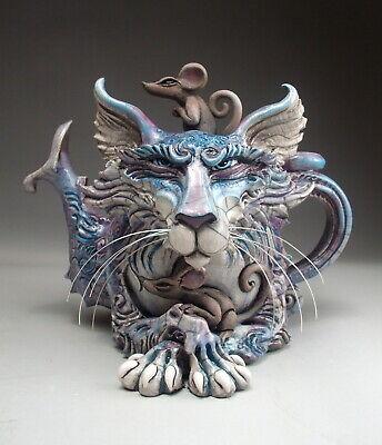 Cat Teapot Pottery mice folk art sculpture by face jug maker Mitchell Grafton