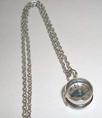 WORKING COMPASS STERLING SILVER MINI LOCKET PENDANT NECKLACE Nautical - Mini Locket Necklace