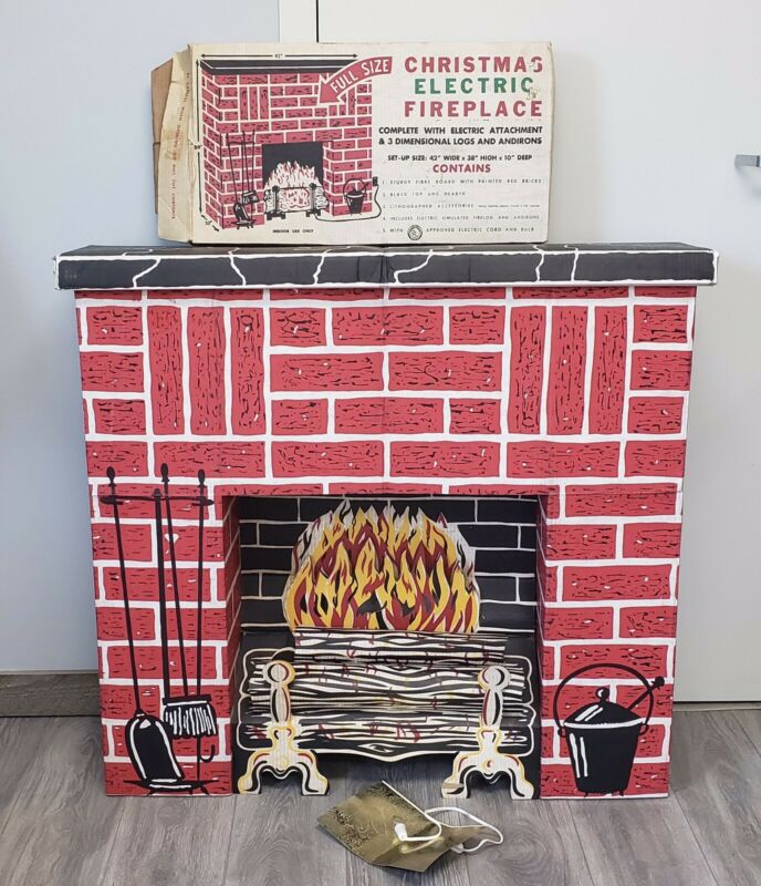 Vintage Christmas Full Size Electric Fireplace 1960s Reflecting Logs  EXCELLENT