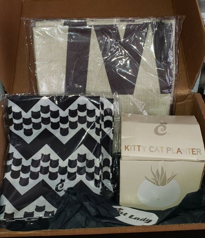 NEW! Lot of 4 Cat Lady Box Exclusive Pillow Covers(2)/Cat Planter/Drawstring Bag