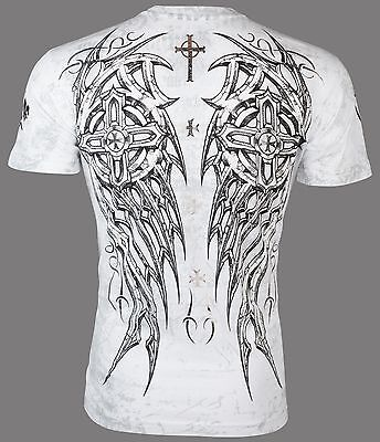 Archaic By Affliction Mens T Shirt Spike Wings Tattoo White Biker Mma Ufc  40
