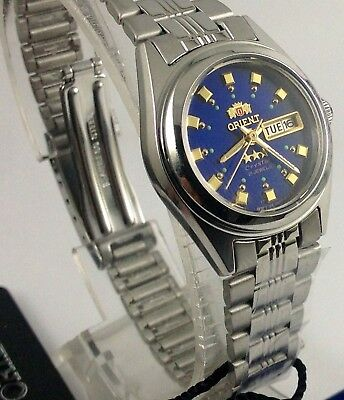 New ORIENT 3 Star Automatic Watch Women's Silver Blue Dial FNQ1X003J