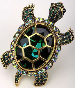 Gold green crystal tortoise turtle pin brooch pendant 1;matching ring available