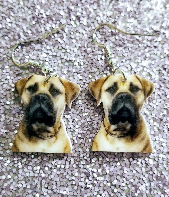 English Mastiff Bullmastiff Dog light earrings jewelry FREE SHIP Mydogsocks