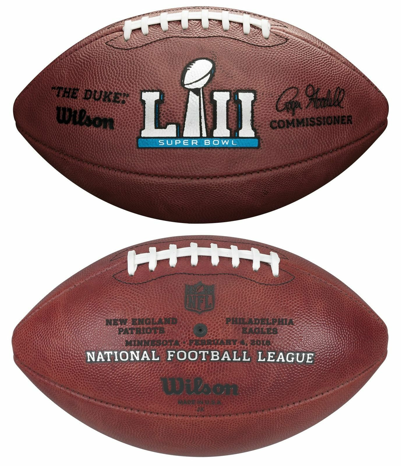 Купить Wilson - NFL Super Bowl 52 Authentic Wilson Game Football w/ Eagles & Patriots Inscribed
