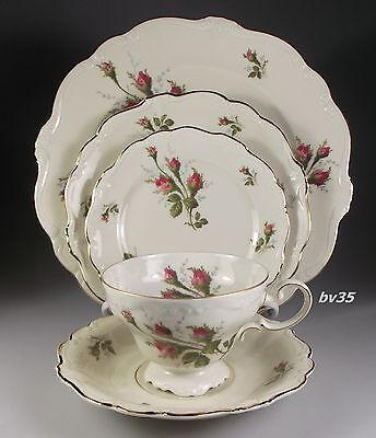 ROSENTHAL MOSS ROSE POMPADOUR 5 PIECE PLACE SETTINGS - PERFECT