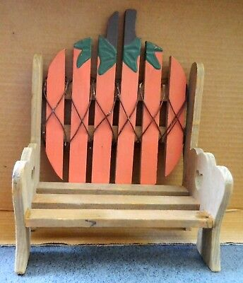 Wooden Bench for Doll with Painted Pumpkin on Back of Seat - Great for Halloween (Pumpkin Paintings For Halloween)