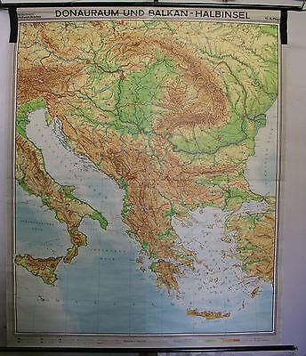 Schulwandkarte Wall Map Danube Adriatic Sea Mediterranean Greece Turkey 179x218