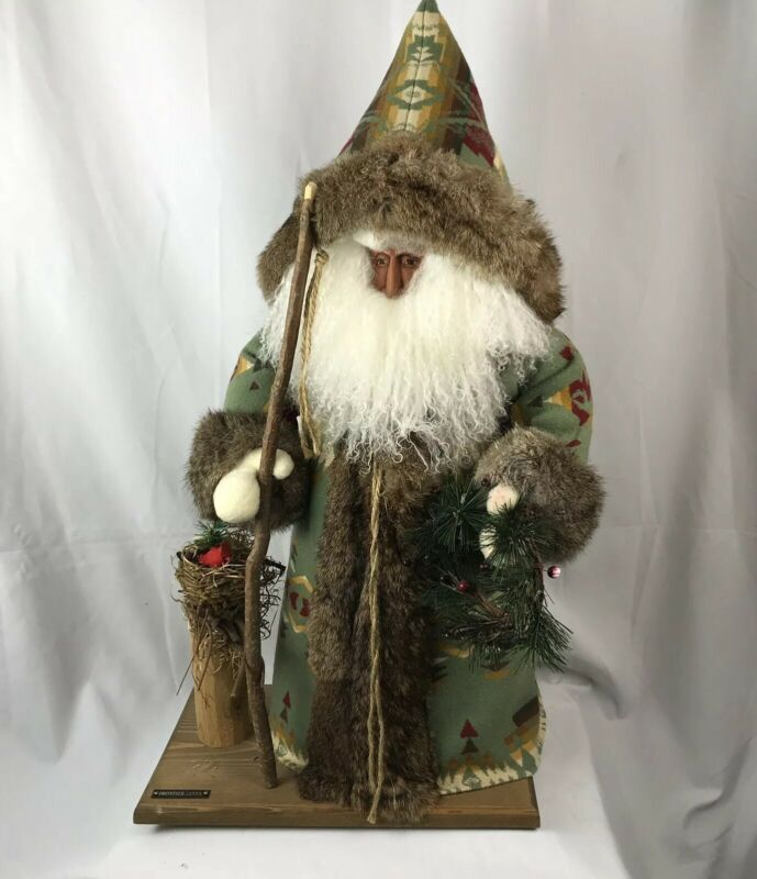 Pendleton Father Winter Frontier Santa Hand Made Carved Face Christmas Figure