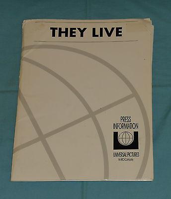original THEY LIVE PRESS KIT John Carpenter Roddy Piper Keith David