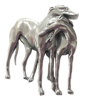 Pewter greyhound pair brooch