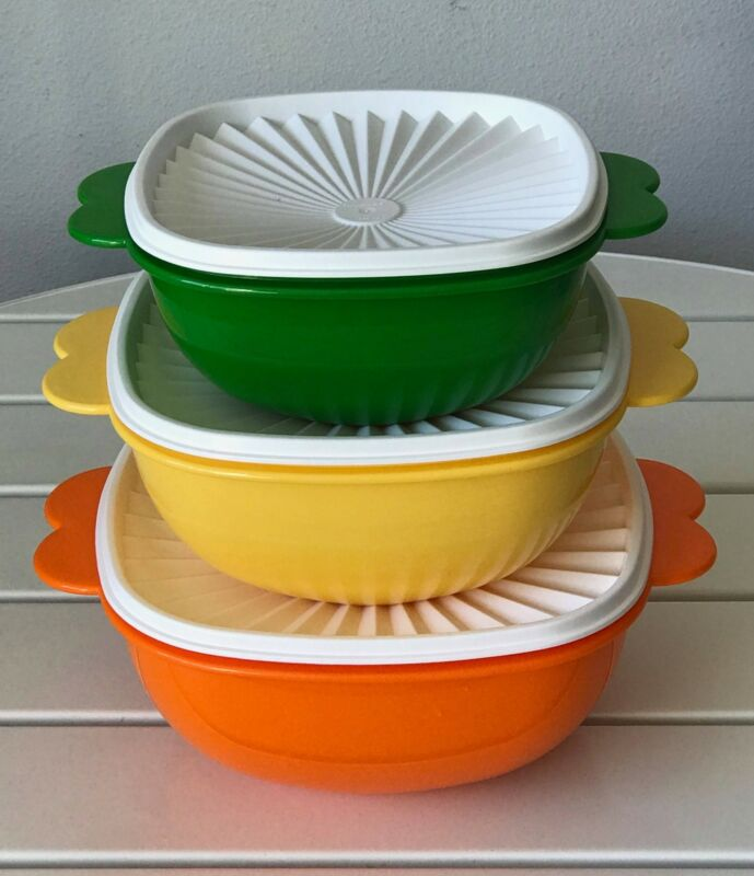 New Tupperware Servalier Picnic Bowl - Set of 3 - Butterfly Handles