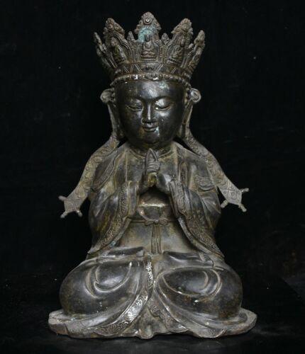 "13.6"" Qianlong Marked Tibet Bronze Buddhism Shakyamuni Amitabha Buddha Sculpture"
