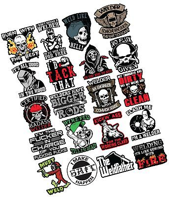 20 Welding Stickers For Welding Hood Tool Box 100 Vinyl Stickers Stick...