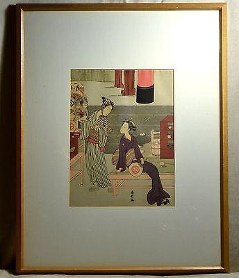 Vintage JAPANESE UKIYO-E Framed Signed WOOD BLOCK Print - Women - Painting Fans