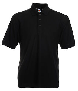 3-Fruit-of-the-Loom-Polo-Shirts-Black-in-XXXL-52-54-BN