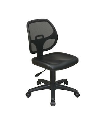 Office Star Mesh Screen Back Armless Task Chair with Padded Vinly Seat, Black Screen Back Mesh Seat Office