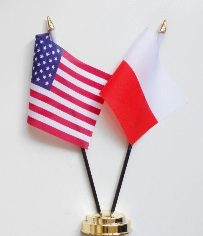 United States of America & Poland Double Friendship Table Flag Set
