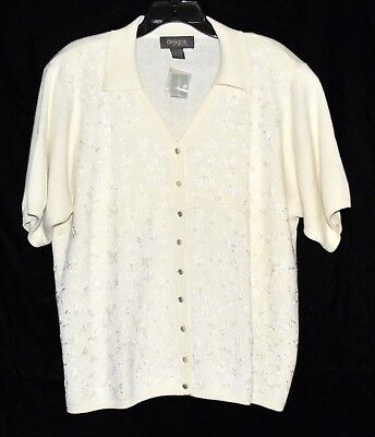 NEW Lane Bryant Cream with Faux Pearls Floral Embroidered Sweater Size 18/20 NWT