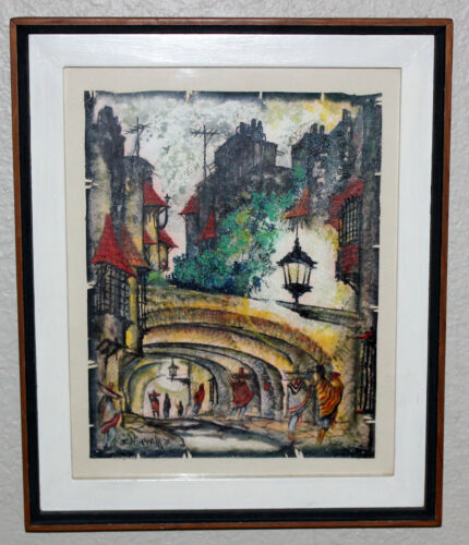 Vintage 1975 Guanajuato Mexico Artist I. Vivanco Framed Painting on Leather