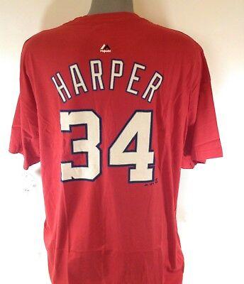 - NEW Mens Majestic Washington Nationals Bryce Harper #34 MLB Red Tee T-Shirt