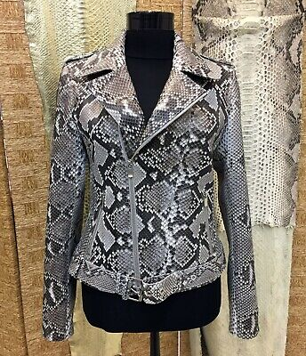 New Women's Genuine Python Leather Natural White Luxury Motorcycle Biker Jacket