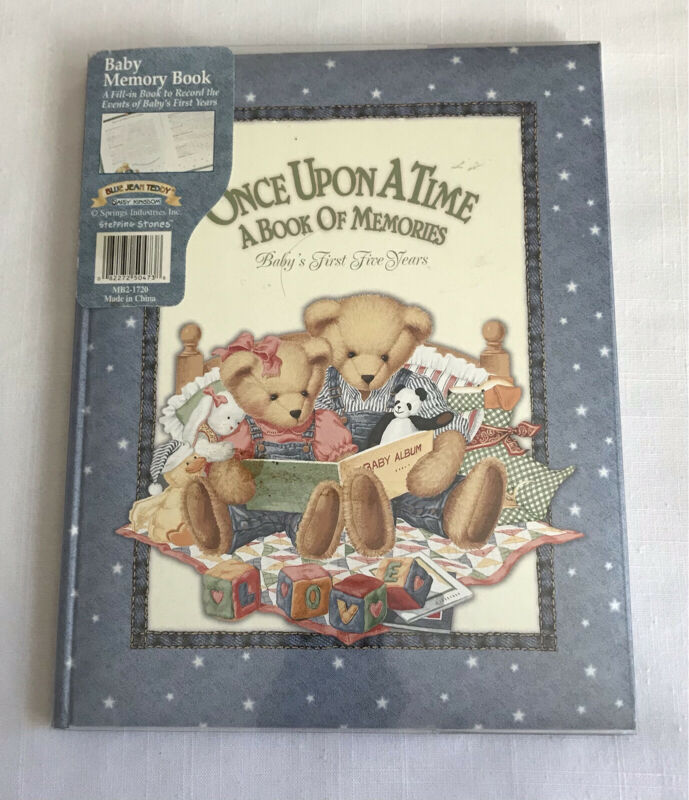 CR Gibson Daisy Kingdom Baby Memoery Book Blue Jean Teddy First 5 Years