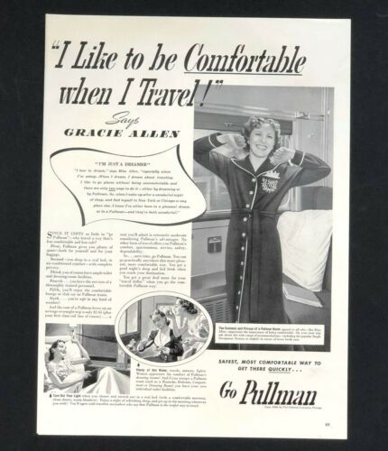 1940 Pullman Train Advertisement Gracie Allen Railroad Room Vintage Print AD