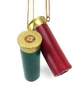 Green & Red Shotgun Shell Resin Christmas Tree Ornaments - Green Ornaments