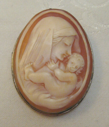 Antique Large Italian Carved Shell Cameo Brooch, Pendant, Madonna & Child Silver