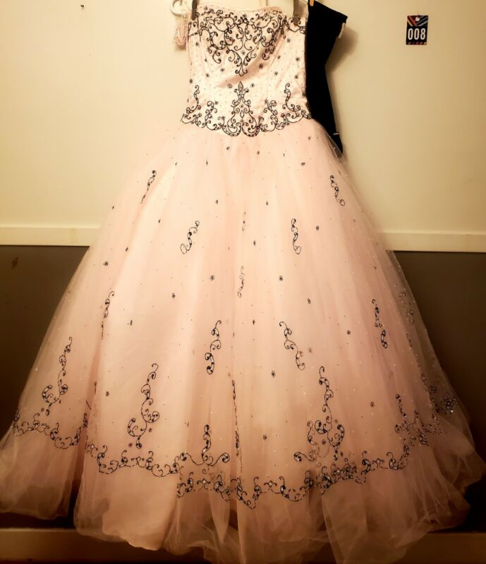 Mori Lee Pink/Blk Prom Ball Gown 7/8